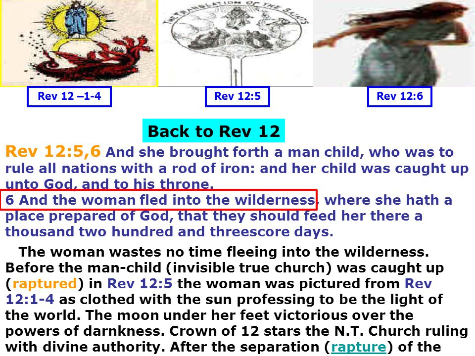 Rev 12 –1-4 Rev 12:5. Rev 12:6. Back to Rev 12.