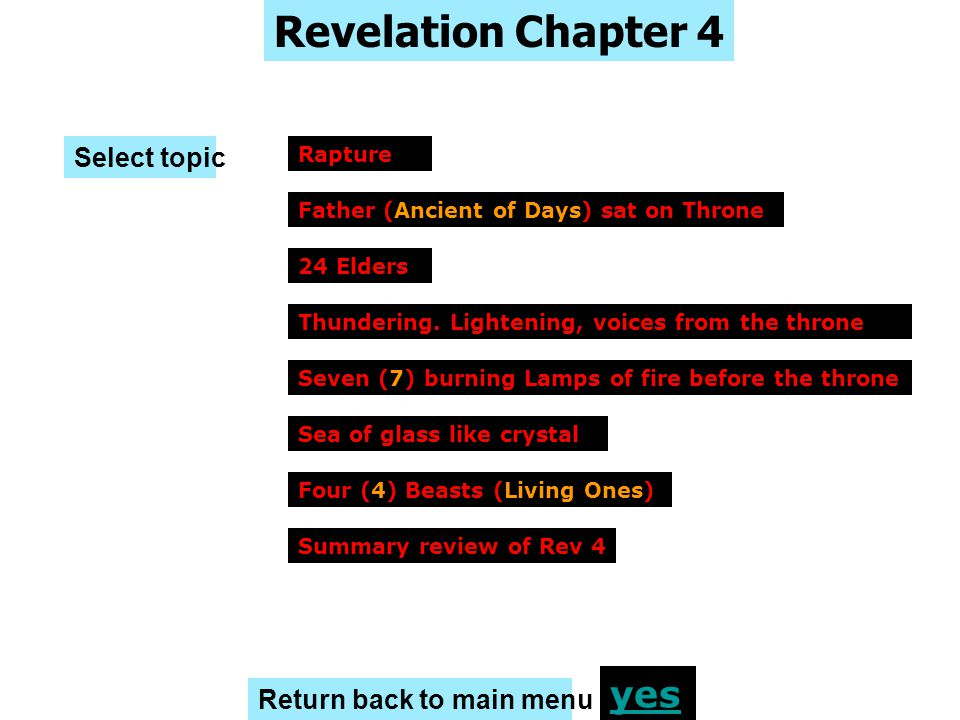 Revelation Chapter 4 yes Select topic Return back to main menu Rapture