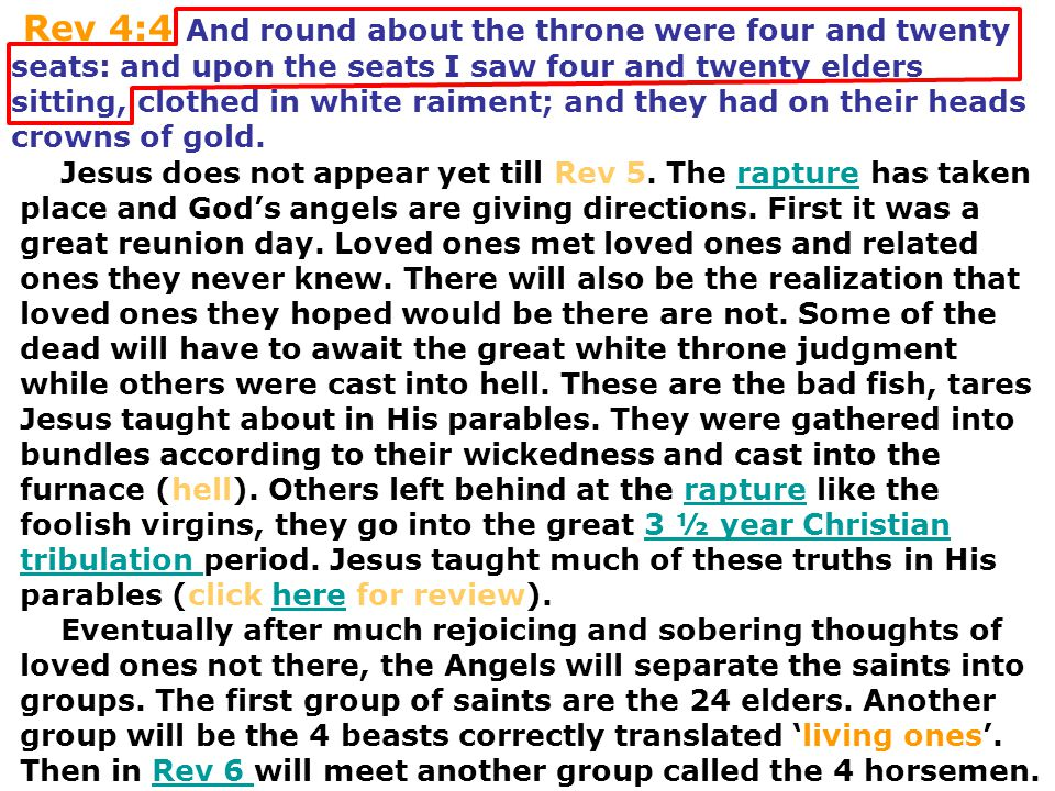 Rev 4:4 And round about the throne were four and twenty seats: and upon the seats I saw four and twenty elders sitting, clothed in white raiment; and they had on their heads crowns of gold.