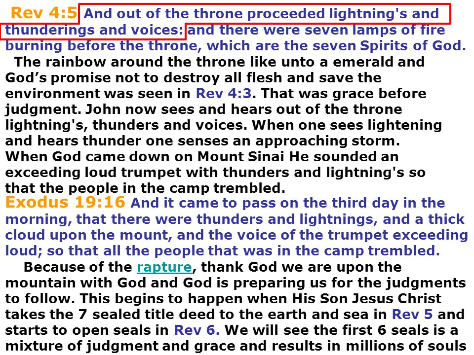 Rev 4:5 And out of the throne proceeded lightning s and thunderings and voices: and there were seven lamps of fire burning before the throne, which are the seven Spirits of God.