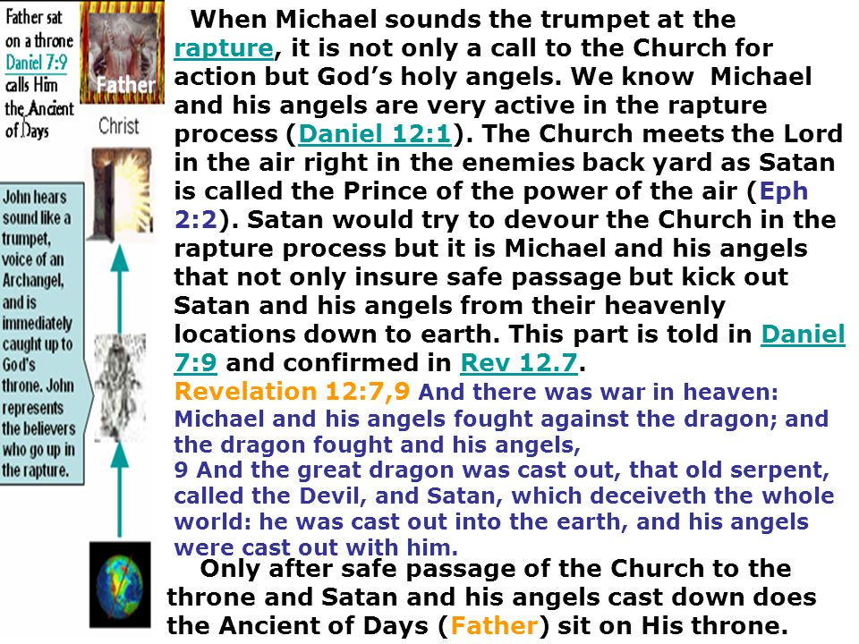 When Michael sounds the trumpet at the rapture, it is not only a call to the Church for action but God's holy angels. We know Michael and his angels are very active in the rapture process (Daniel 12:1). The Church meets the Lord in the air right in the enemies back yard as Satan is called the Prince of the power of the air (Eph 2:2). Satan would try to devour the Church in the rapture process but it is Michael and his angels that not only insure safe passage but kick out Satan and his angels from their heavenly locations down to earth. This part is told in Daniel 7:9 and confirmed in Rev 12.7.