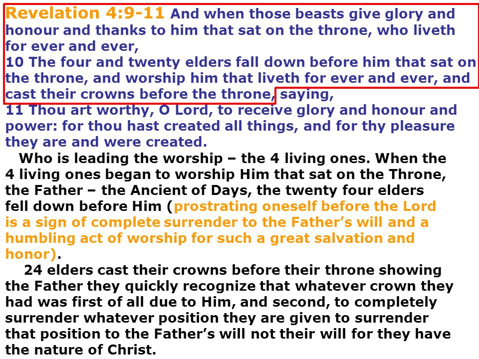 Revelation 4:9-11 And when those beasts give glory and honour and thanks to him that sat on the throne, who liveth for ever and ever,