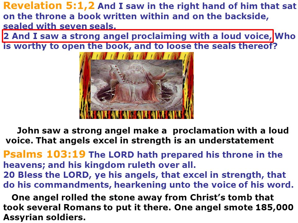 Revelation 5:1,2 And I saw in the right hand of him that sat on the throne a book written within and on the backside, sealed with seven seals. 2 And I saw a strong angel proclaiming with a loud voice, Who is worthy to open the book, and to loose the seals thereof