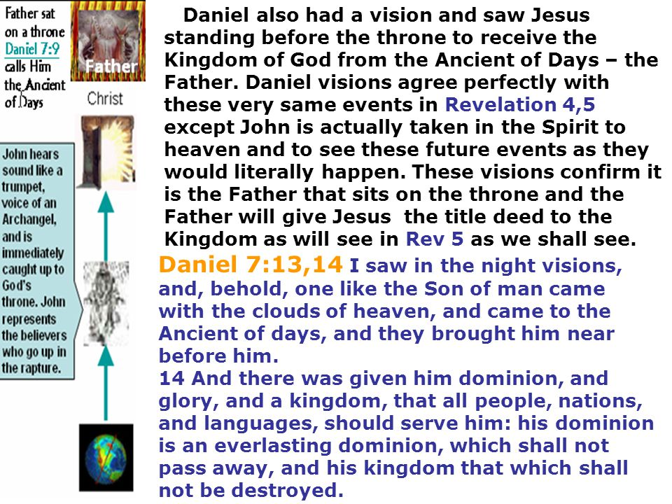 Daniel also had a vision and saw Jesus standing before the throne to receive the Kingdom of God from the Ancient of Days – the Father. Daniel visions agree perfectly with these very same events in Revelation 4,5 except John is actually taken in the Spirit to heaven and to see these future events as they would literally happen. These visions confirm it is the Father that sits on the throne and the Father will give Jesus the title deed to the Kingdom as will see in Rev 5 as we shall see.