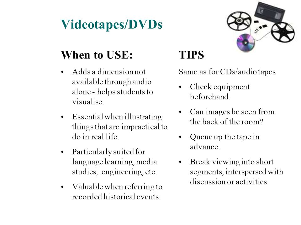 Videotapes/DVDs When to USE: TIPS