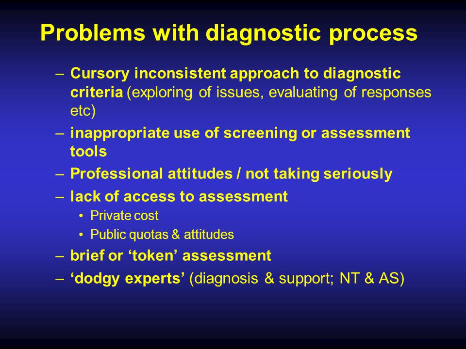 Problems with diagnostic process
