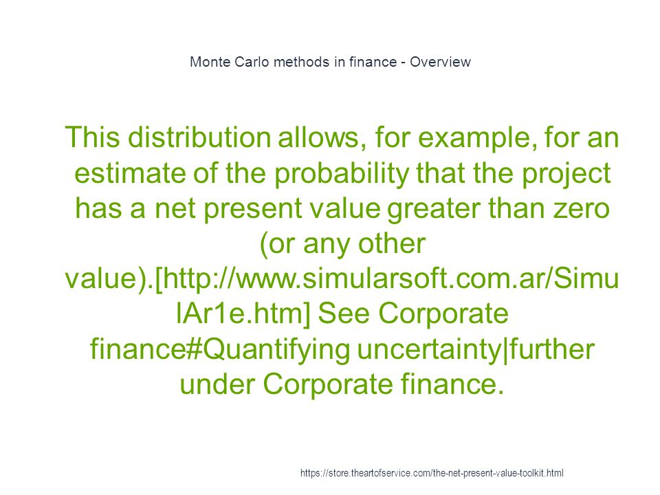 Monte Carlo methods in finance - Overview