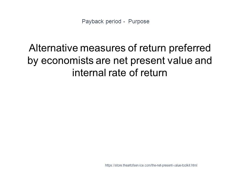 Payback period - Purpose