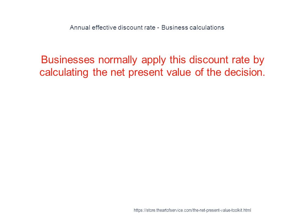 Annual effective discount rate - Business calculations