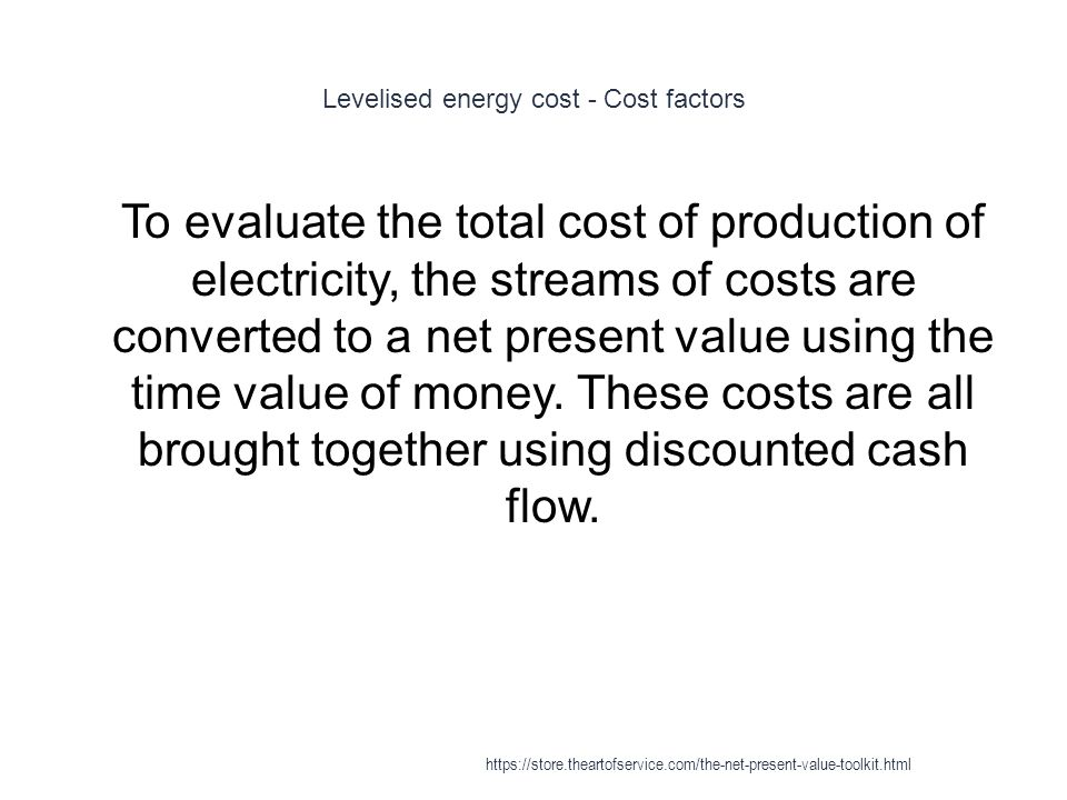 Levelised energy cost - Cost factors