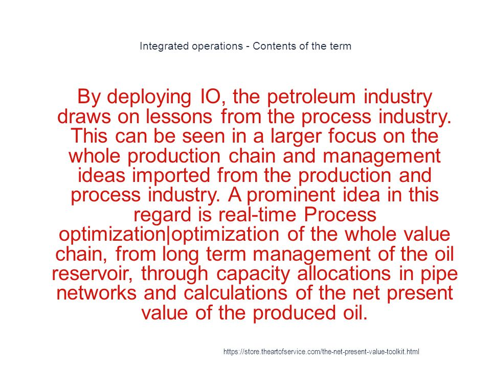 Integrated operations - Contents of the term