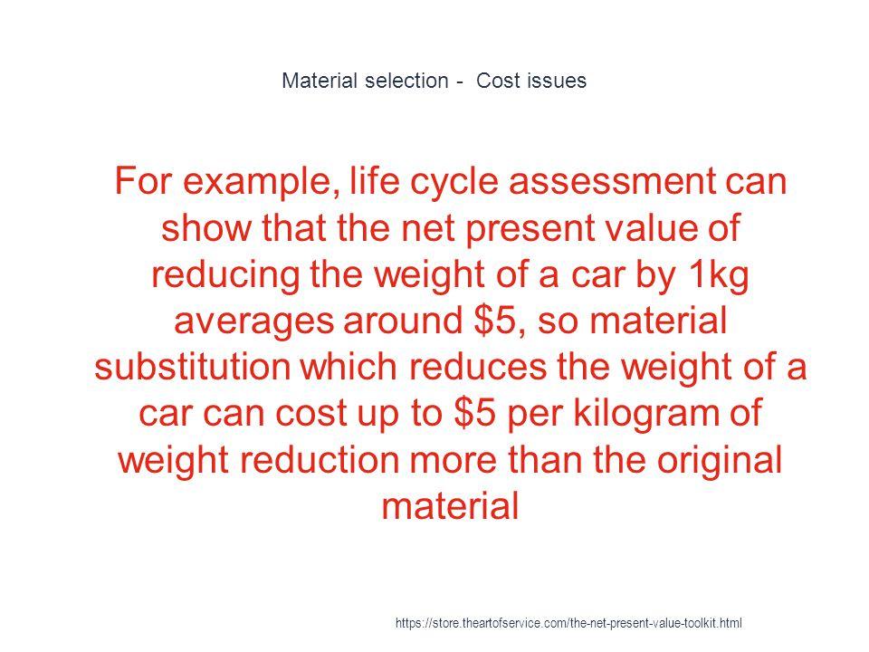 Material selection - Cost issues