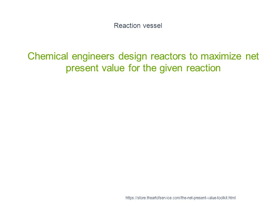 Reaction vessel Chemical engineers design reactors to maximize net present value for the given reaction.
