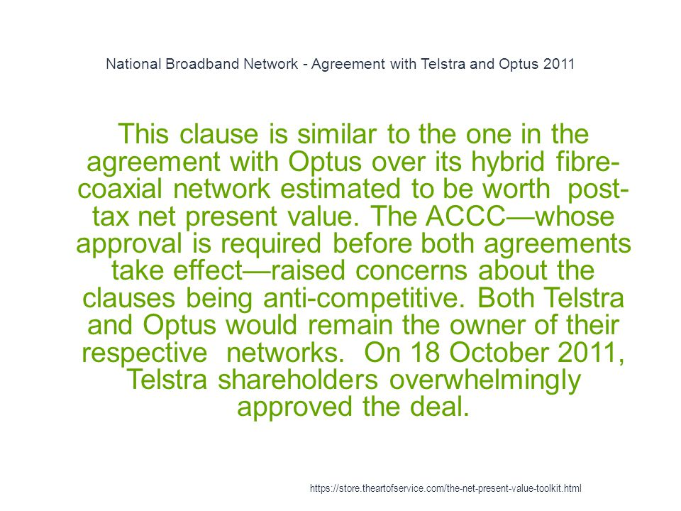 National Broadband Network - Agreement with Telstra and Optus 2011
