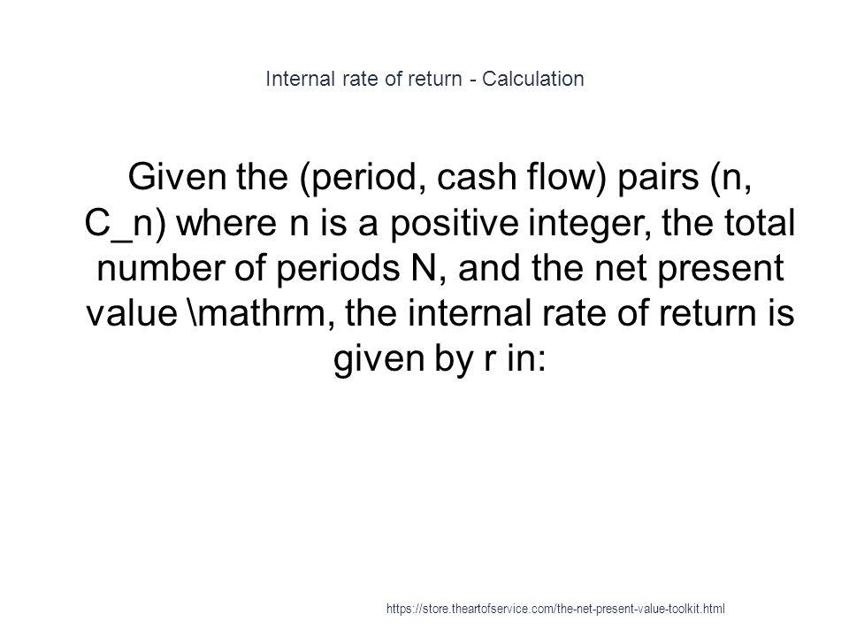 Internal rate of return - Calculation