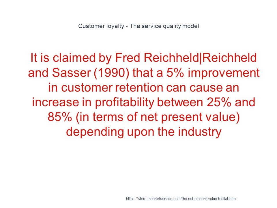 Customer loyalty - The service quality model