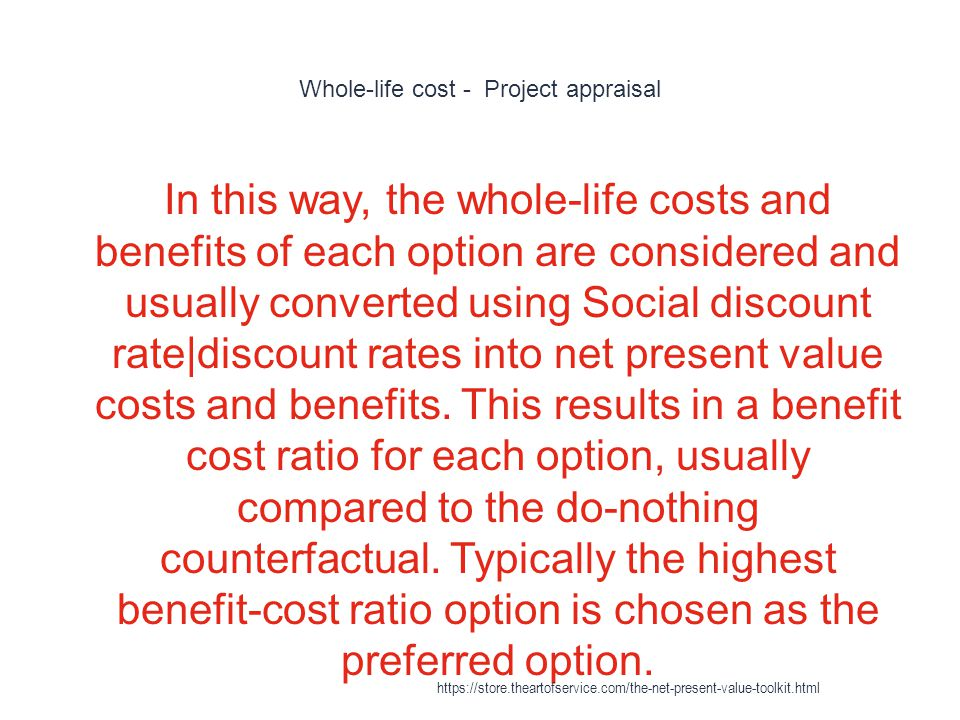 Whole-life cost - Project appraisal