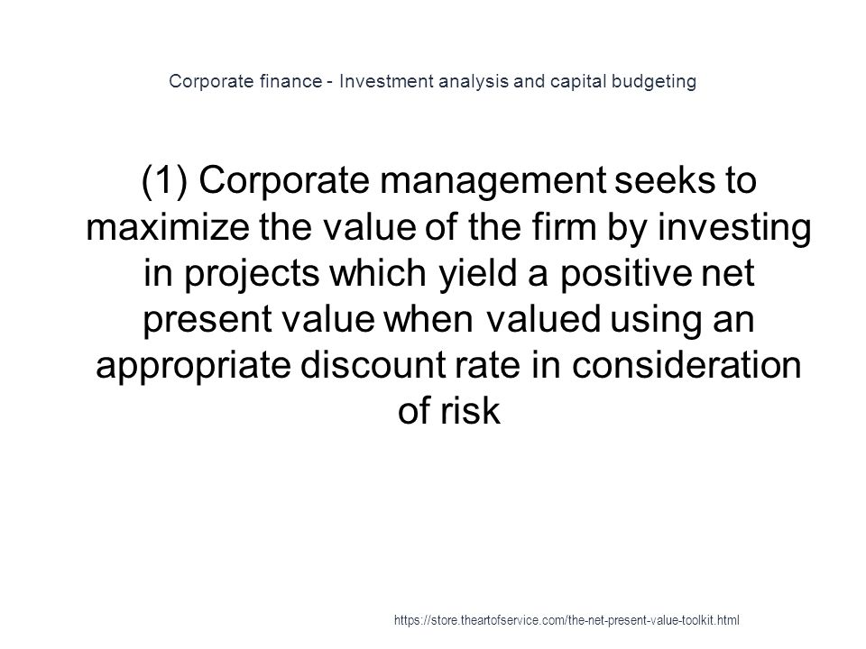Corporate finance - Investment analysis and capital budgeting