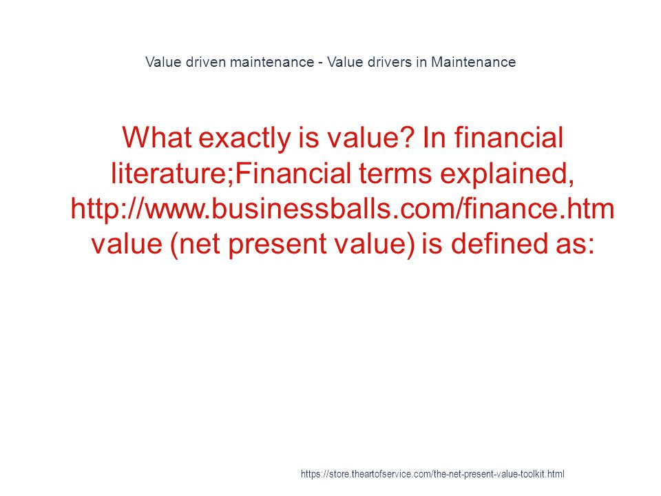 Value driven maintenance - Value drivers in Maintenance
