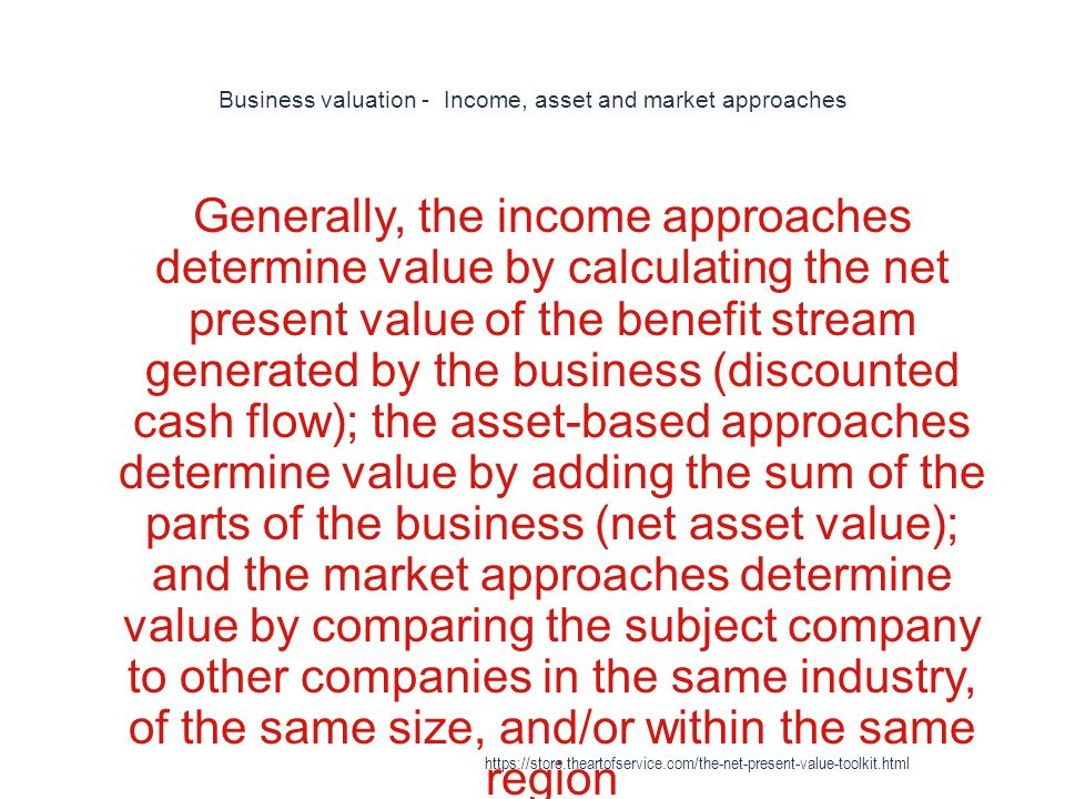 Business valuation - Income, asset and market approaches