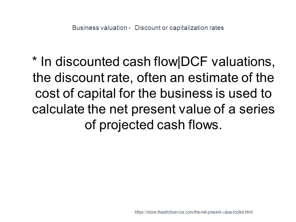 Business valuation - Discount or capitalization rates