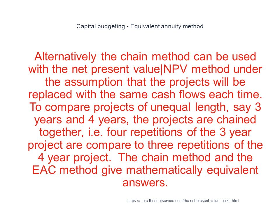 Capital budgeting - Equivalent annuity method
