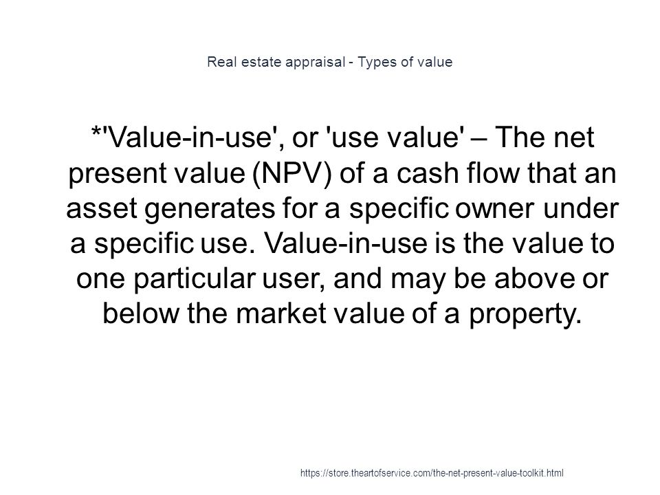 Real estate appraisal - Types of value