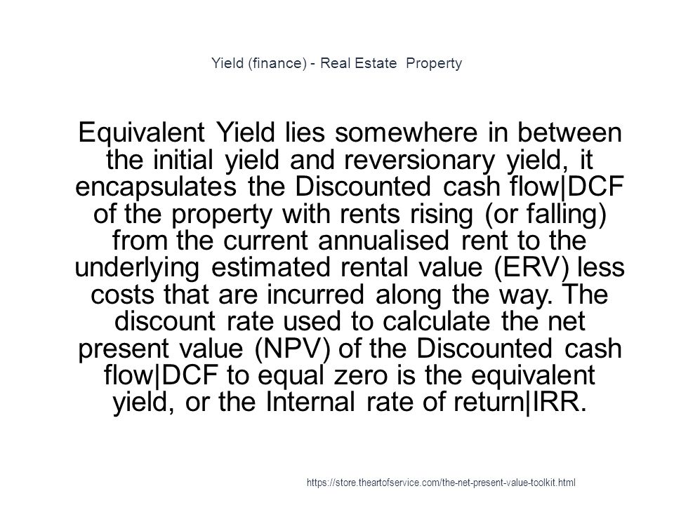 Yield (finance) - Real Estate Property