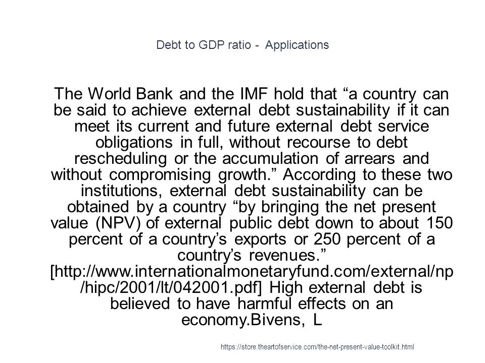 Debt to GDP ratio - Applications