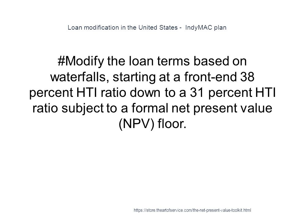 Loan modification in the United States - IndyMAC plan