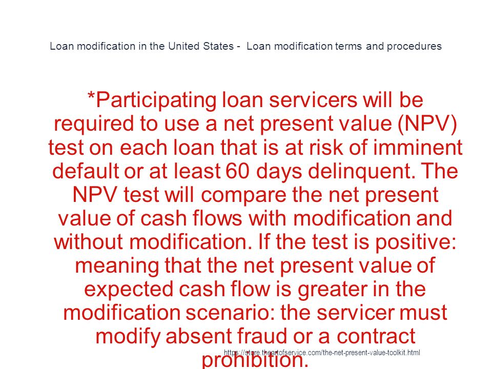 Loan modification in the United States - Loan modification terms and procedures