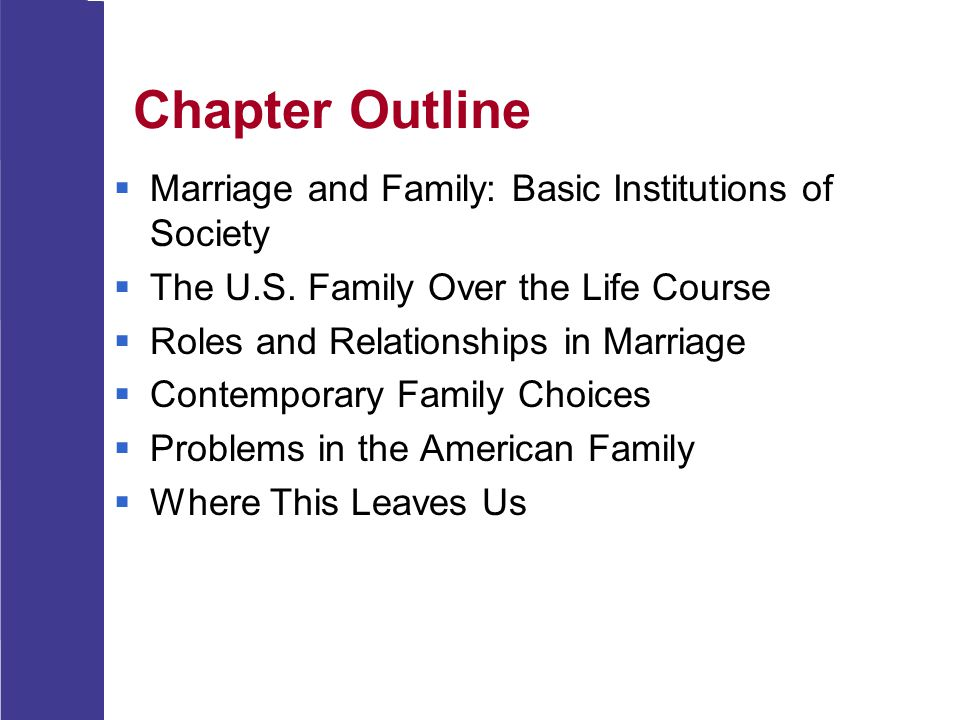 Chapter Outline Marriage and Family: Basic Institutions of Society