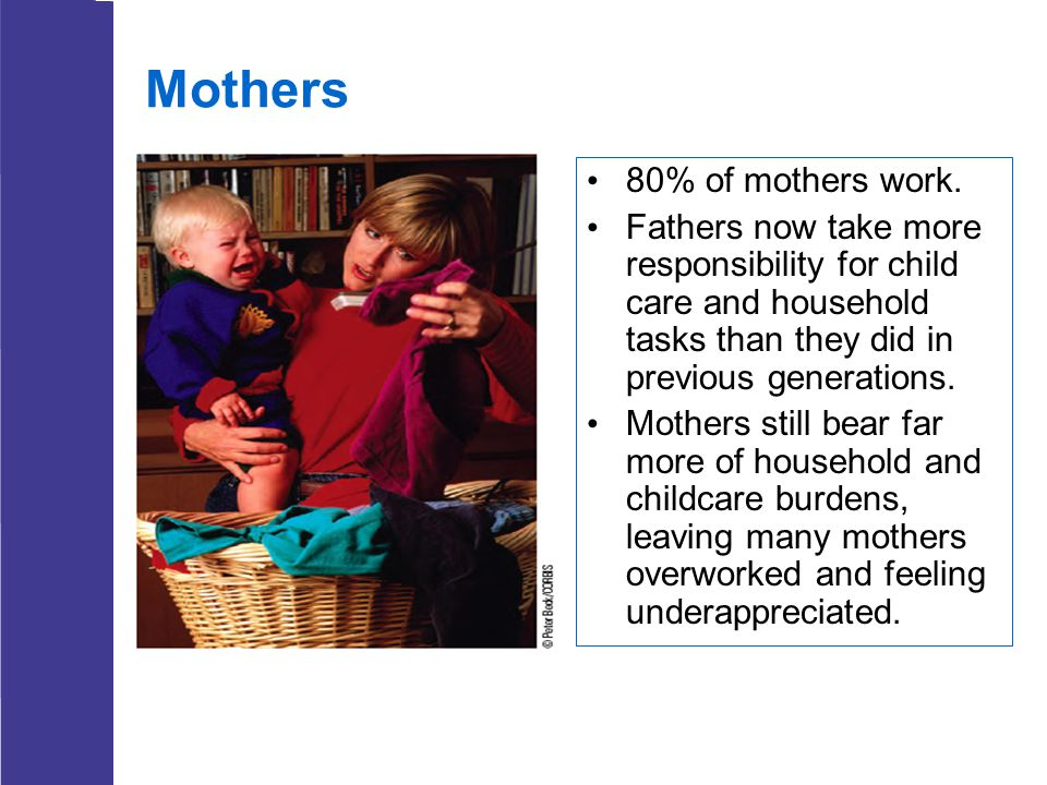 Mothers 80% of mothers work.