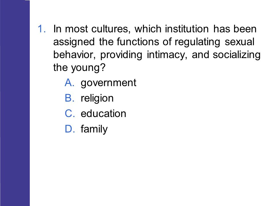 In most cultures, which institution has been assigned the functions of regulating sexual behavior, providing intimacy, and socializing the young