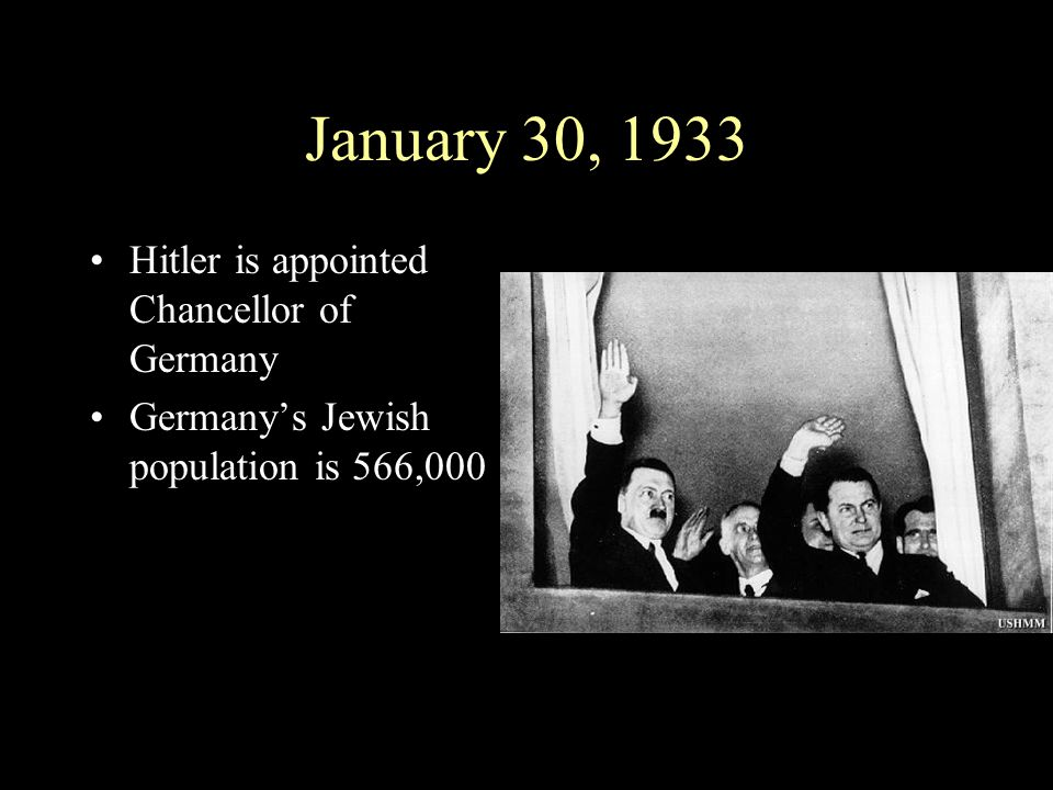 January 30, 1933 Hitler is appointed Chancellor of Germany