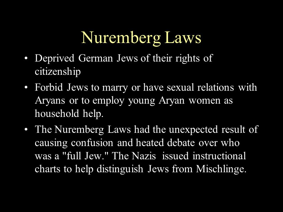 Nuremberg Laws Deprived German Jews of their rights of citizenship
