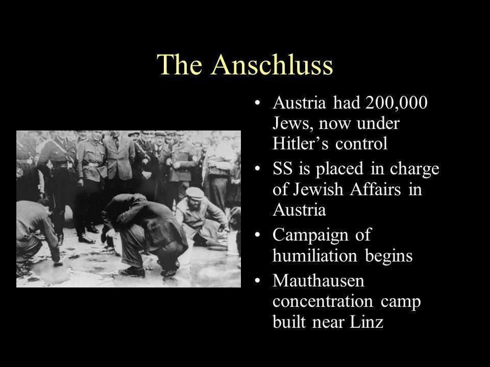 The Anschluss Austria had 200,000 Jews, now under Hitler's control