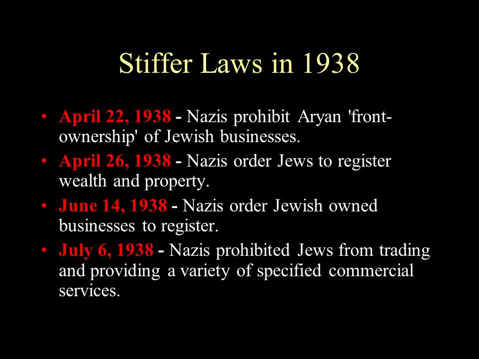 Stiffer Laws in 1938 April 22, 1938 - Nazis prohibit Aryan front-ownership of Jewish businesses.
