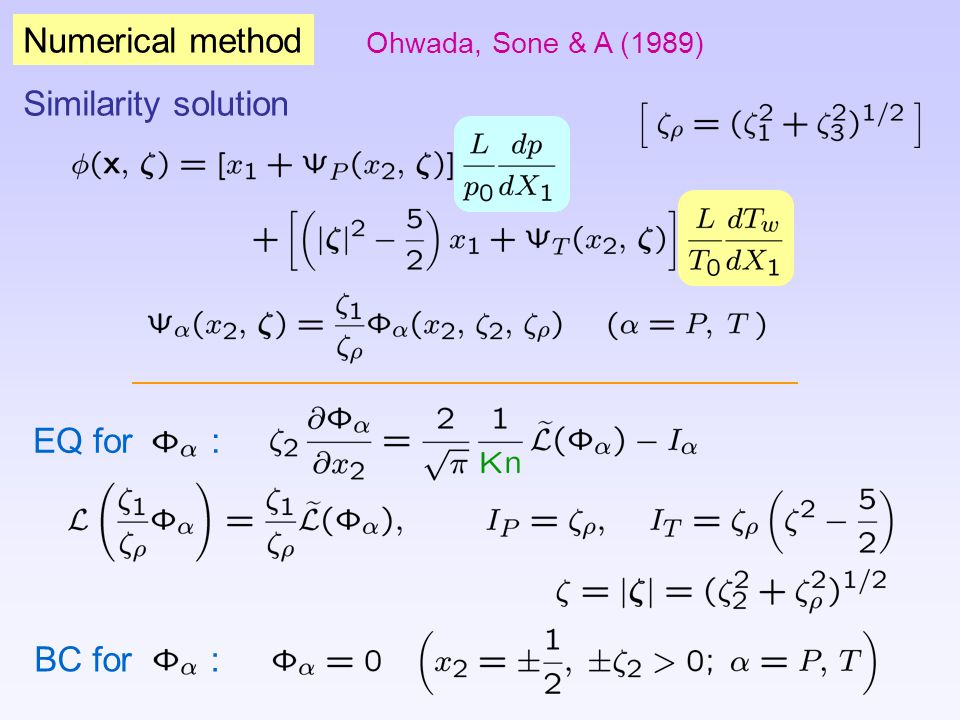 Numerical method Similarity solution EQ for : BC for :