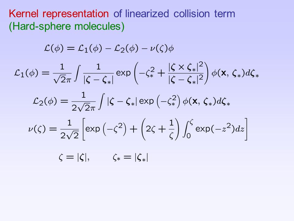 Kernel representation of linearized collision term