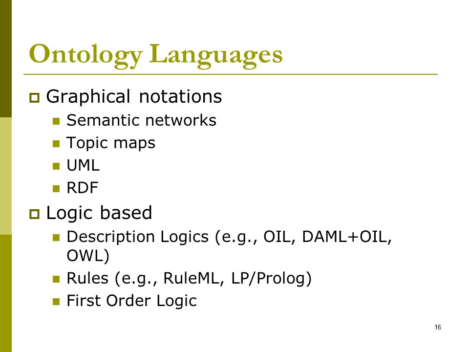 Ontology Languages Graphical notations Logic based Semantic networks