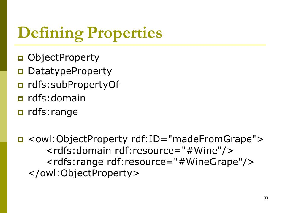 Defining Properties ObjectProperty DatatypeProperty rdfs:subPropertyOf