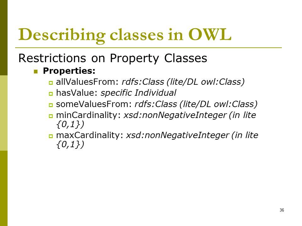 Describing classes in OWL