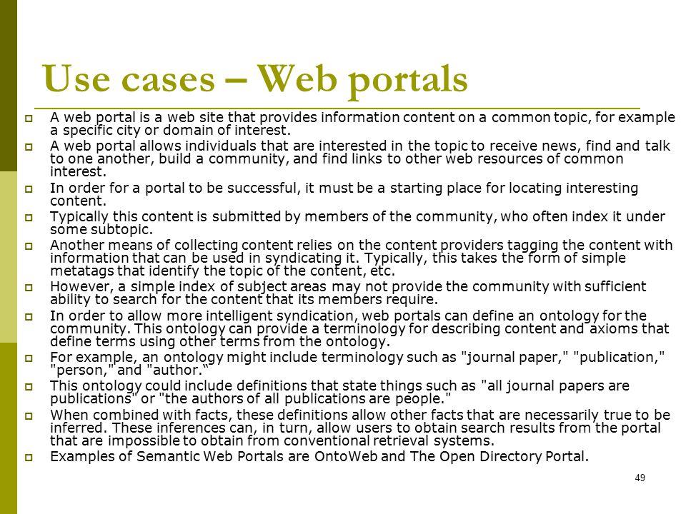 Use cases – Web portals
