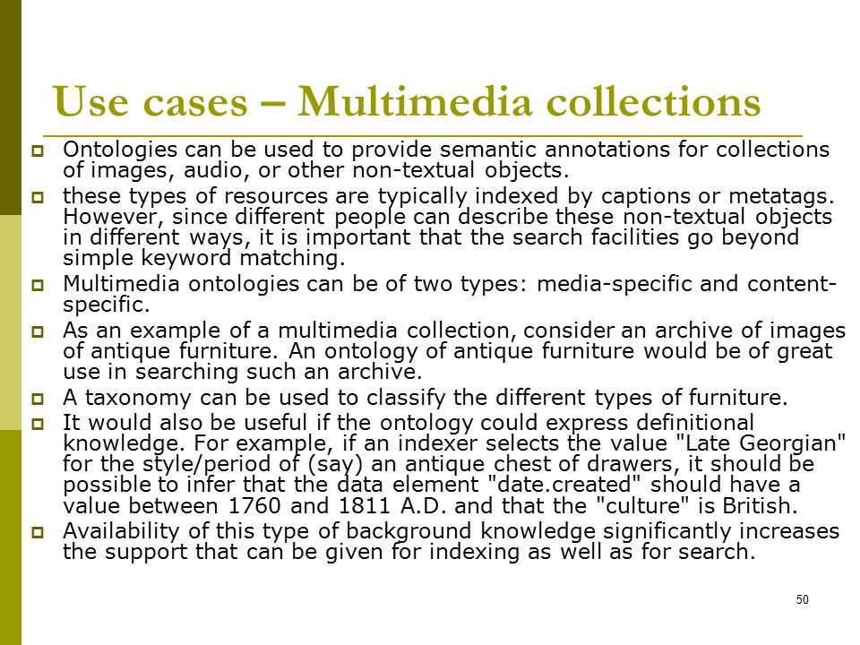 Use cases – Multimedia collections