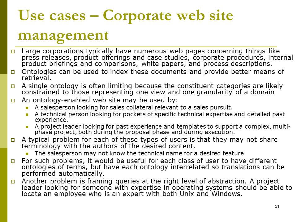 Use cases – Corporate web site management