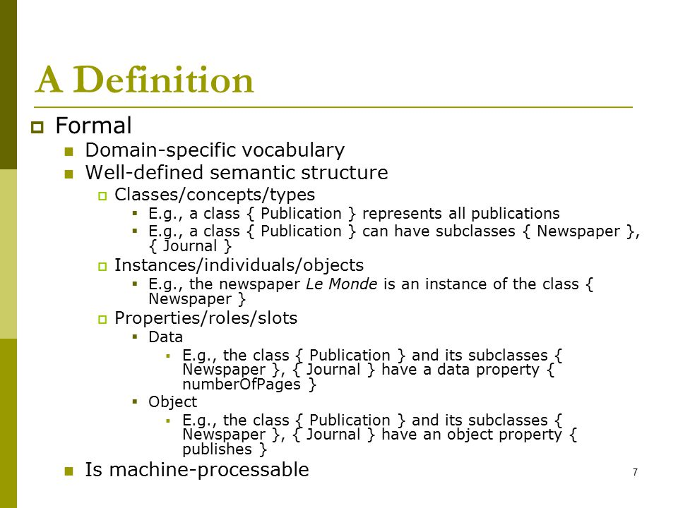 A Definition Formal Domain-specific vocabulary