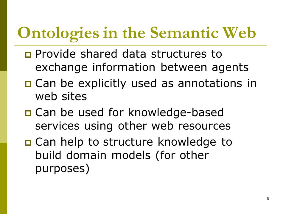 Ontologies in the Semantic Web