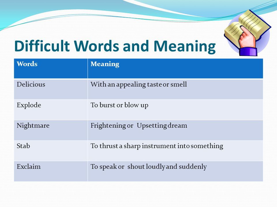 Difficult Words and Meaning
