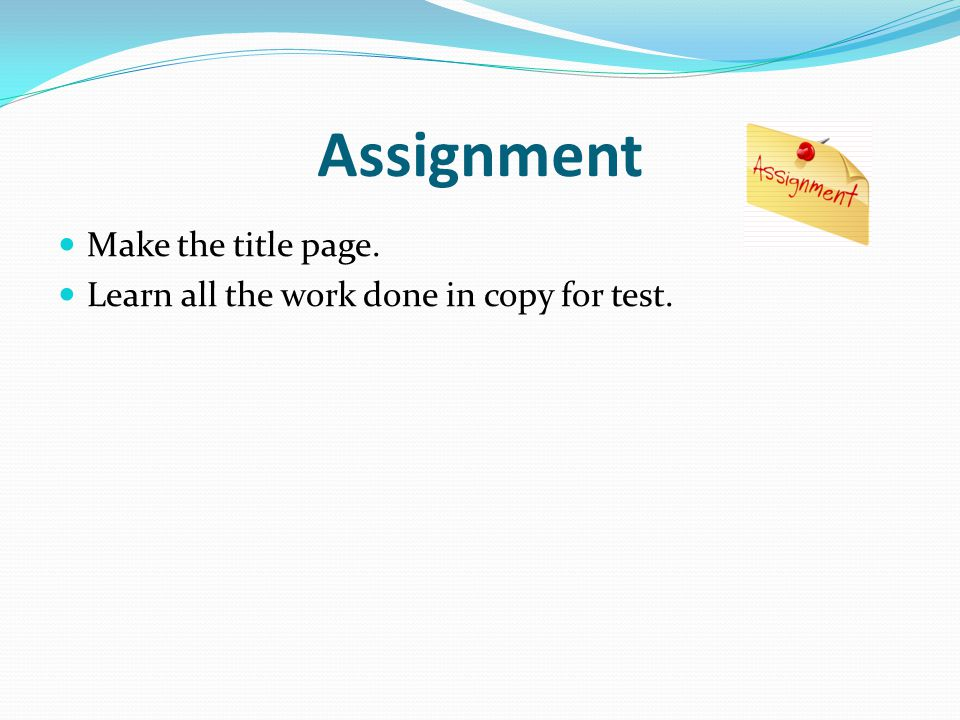 Assignment Make the title page.